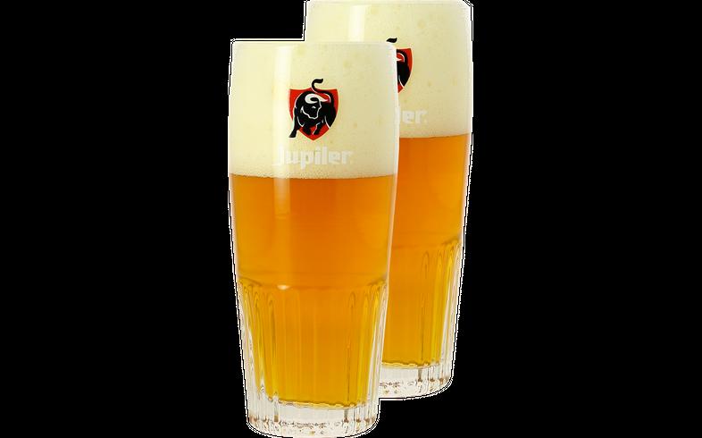 Verres à bière - Pack 2 Verres Jupiler strié - Logo rouge - 33 cl