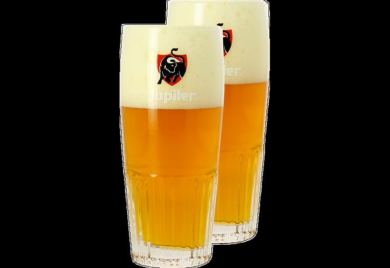Beer glasses - Jupiler 33cl ribbed glass with Red logo