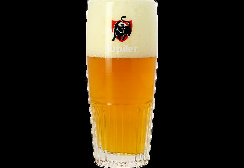 Biergläser - Glas Jupiler strié - Logo rouge - 25 cl