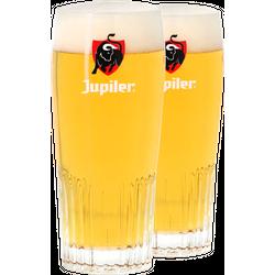 Verres à bière - Pack 2 verres Jupiler strié - Logo rouge - 25 cl