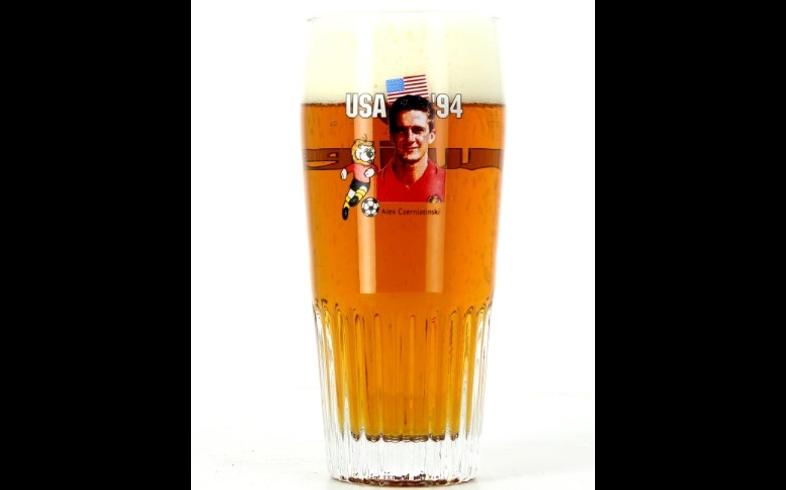 Verres à bière - Verre Jupiler strié Belgium USA 94