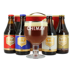 Gift box with beer and glass - Chimay Quadrilogie GiftPack