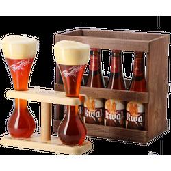 Coffrets cadeaux verre et bière - Coffret Kwak bois - 4 bières et 2 verres support duo