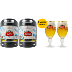Barriles - Pack 2 fûts 6L de Stella Artois Holidays + 2 verres Stella Artois Holidays offerts
