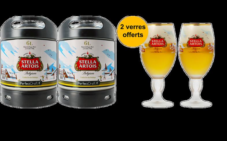 Tapvaten - Pack 2 fûts 6L de Stella Artois Holidays + 2 verres Stella Artois Holidays offerts