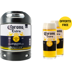 Fässer - Corona Extra PerfectDraft Fass 6 liter + 2 Gläser - Mehrweg