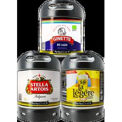 Kegs - Assortiment 3 fûts 6L Lager : Stella Artois - Spaten - Ginette Lager Bio