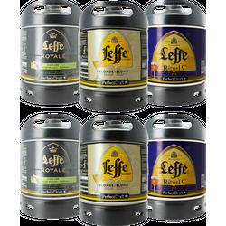 Fûts de bière - Assortiment 6 fûts 6L Leffe : Blonde - Royale Cascade - Rituel 9°