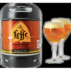 Fûts de bière - Pack 1 fût 6L Leffe Ambrée + 2 verres Leffe - 25 cl
