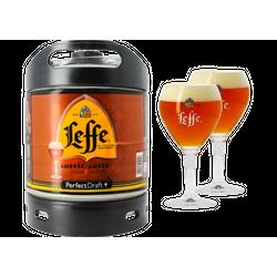 Fûts de bière - Pack 1 fût 6L Leffe Ambrée + 2 verres Leffe - 33 cl