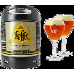 Kegs - Pack 1 fût 6L Leffe Blonde + 2 verres Leffe Calice - 33 cl