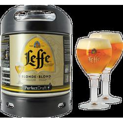 Fässer - Pack Leffe Blonde + 2x 25cl Gläser PerfectDraft 6 liter Fass - Mehrweg