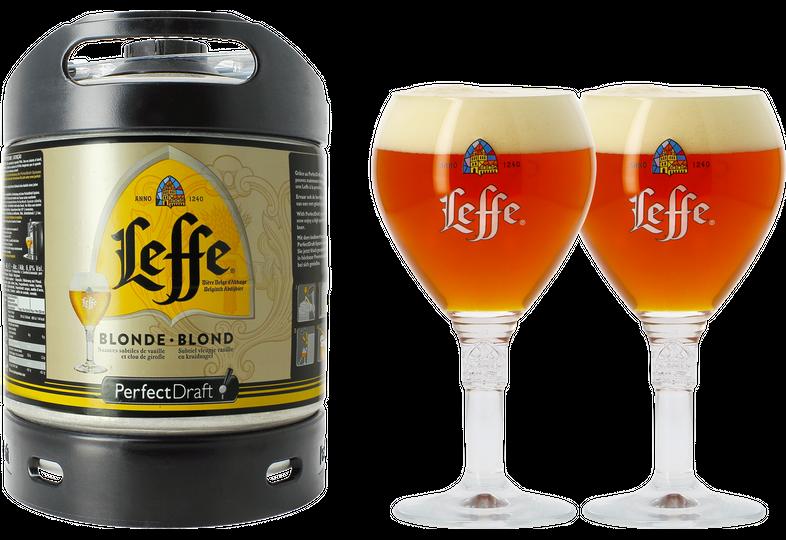 Fûts de bière - Pack 1 fût 6L Leffe Blonde + 2 verres Leffe Calice - 33 cl
