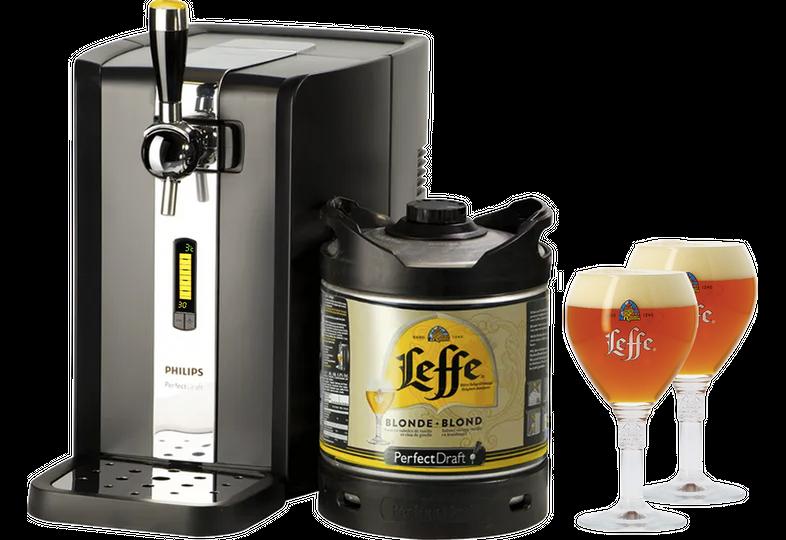 Fûts de bière - Pack Tireuse Leffe Blonde + 2 verres Leffe Calice - 33 cl