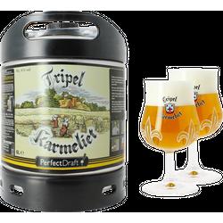 Fûts de bière - Pack 1 fût 6L Tripel Karmeliet + 2 verres Tripel Karmeliet - 20 cl
