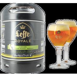 Fûts de bière - Pack 1 fût 6L Leffe Royale Cascade + 2 verres Leffe Calice - 25 cl