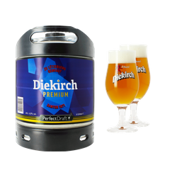 Fûts de bière - Pack 1 Fût 6L Diekirch Premium + 2 verres  Diekirch - 25 cl