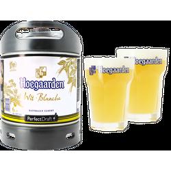 Fûts de bière - Pack 1 fût 6L Hoegaarden + 2 verres Hoegaarden - 33 cl