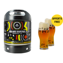Fûts de bière - Pack 1 fût 6L Magic Rock High Wire Grapefruit + 2 verres Magic Rock Craft Master - 33 cl