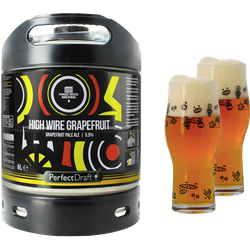 Fässer - Pack Magic Rock High Wire Grapefruit + 2 Gläser PerfectDraft 6 liter Fass - Mehrweg