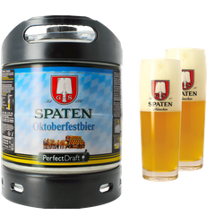Fässer - Pack 1 Fass 6L Spaten Oktoberfestbier + 2 Gläser Spaten - 50 cl