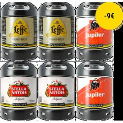 Fûts - Pack 6 Fûts : Leffe Blonde - Stella Artois - Jupiler