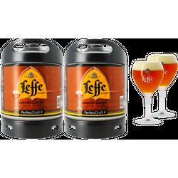 Fûts de bière - Pack 2 fûts Leffe Ambrée + 2 verres Leffe Calice - 33 cl