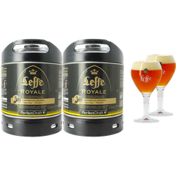 Fûts de bière - Pack 2 fûts 6L Leffe Royale + 2 verres Leffe Calice - 33 cl