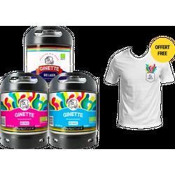 Fässer - Pack 3x Ginette Bio + 1 T-shirt Gratis PerfectDraft Fässer 6 liter - Mehrweg