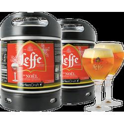 Kegs - Pack 2 fûts 6L Leffe de Noël + 2 verres Leffe Calice - 25 cl