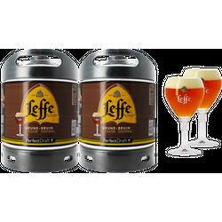 Fûts de bière - Pack 2 fûts 6L Leffe Brune + 2 verres Leffe Calice - 33 cl