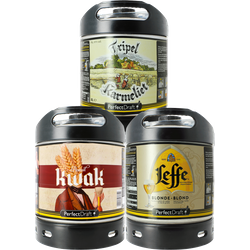 Fûts de bière - Assortiments 3 fûts : Tripel Karmeliet - Kwak - Leffe Blonde