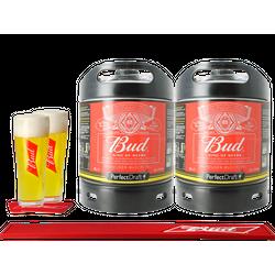 Fûts de bière - Pack 2 Fûts 6L Bud + 2 verres + 1 Bar Mat