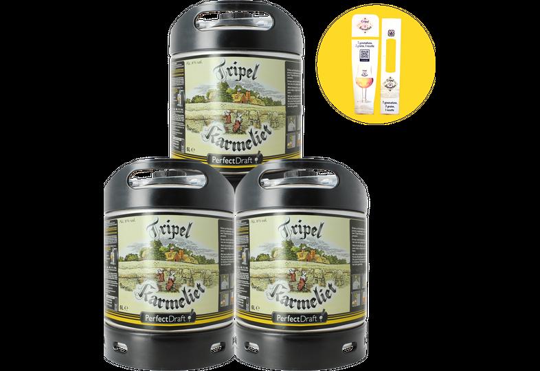 Fûts de bière - Pack 3 fûts Tripel Karmeliet + 1 maxi Magnet offert