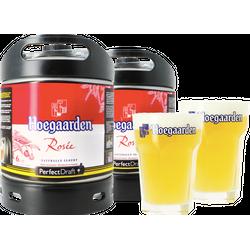 Fûts de bière - Pack 2 fûts 6L Hoegaarden Rosée + 2 verres Hoegaarden - 33 cl