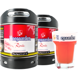 Fässer - Pack 2x Hoegaarden Rosée + 1x 50cl Glas PerfectDraft 6 liter Fässer - Mehrweg