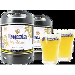 Fûts de bière - Pack 2 fûts 6L Hoegaarden + 2 verres Hoegaarden - 33 cl
