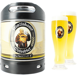 Fûts de bière - Pack 1 fût 6L Franziskaner Weissbier + 2 verres Franziskaner Weissbier - 50 cl