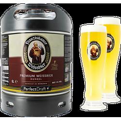 Fûts de bière - Pack 1 fût 6L Franziskaner Dunkel + 2 verres Franziskaner Weissbier - 50 cl