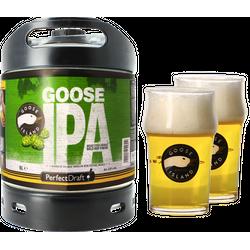 Fässer - Pack Goose Island IPA + 2x 25cl Gläser PerfectDraft 6 liter Fass - Mehrweg