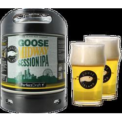 Fûts de bière - Pack 1 fût 6L Goose Midway Session IPA + 2 verres Goose Island - 25 cl