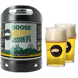 Fässer - Pack Goose Island Midway Session IPA + 2x 25cl Gläser PerfectDraft 6 liter Fass - Mehrweg