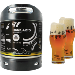 Fûts de bière - Pack 1 fût 6L Magic Rock Dark Arts + 2 verres Magic Rock Craft Master - 25cl