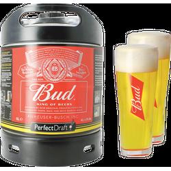 Fûts de bière - Pack 1 fût 6L Bud + 2 verres Bud - 33cl