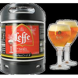 Fûts de bière - Pack 1 fût 6L Leffe de Noël + 2 verres Leffe Calice - 25 cl