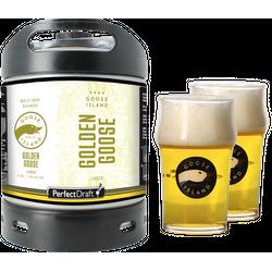 Fûts de bière - Pack 1 fût 6L Goose Island Golden Goose + 2 verres Goose Island - 25 cl