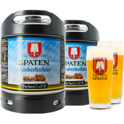 Fässer - Pack 2x Spaten Oktoberfest + 2x 50cl Gläser PerfectDraft 6 Liter Fässer - Mehrweg