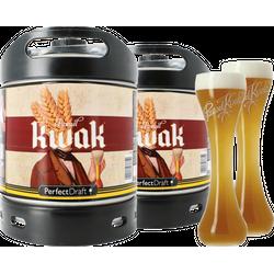 Fässer - Pack 2x Pauwel Kwak + 2x 33cl Gläser (flach von unten) PerfectDraft 6 liter Fass - Mehrweg