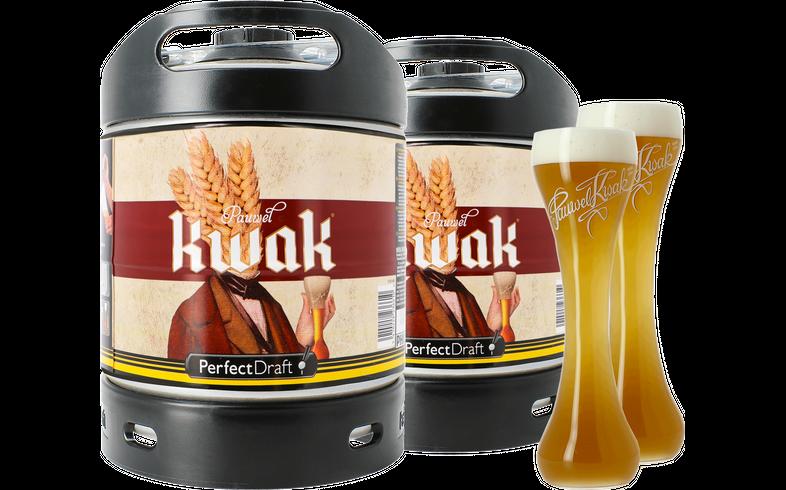 Fûts de bière - Pack 2 fûts 6L Kwak + 2 verres Kwak Fond Plat - 33 cl