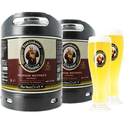 Fûts de bière - Pack 2 fûts 6L Franziskaner Dunkel + 2 verres Franziskaner Weissbier - 50 cl